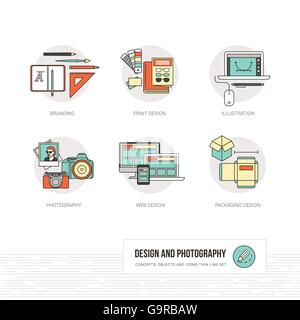 Photography, illustration, graphic and web design concepts, thin line icons and objects set - Stock Photo