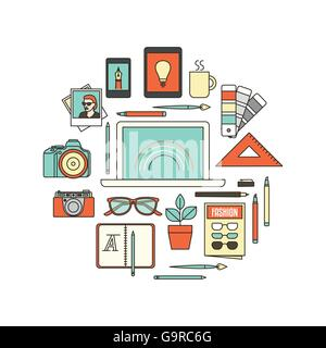 Graphic designer, photographer and illustrator tools, thin line objects in a circular shape on white background - Stock Photo