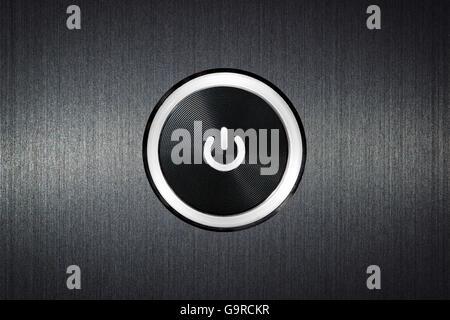 Switch Button On Off With Symbol On Dark Grey Metallic Background