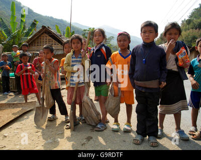 children in village at Mekong river, province Oudomxay, Laos, Asia - Stock Photo