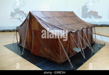 Roman tent, Roman Museum, Haltern am See, Ruhr area, North Rhine-Westphalia, Germany / LWL Roman Museum - Stock Photo
