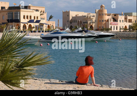 Yacht harbour, yachts, Abu Tig Marina, el-Guna, Egypt - Stock Photo