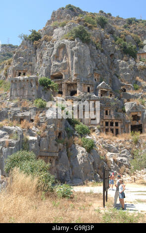 Tombs carved in rock, rockgraves, graves, Demre, Myra, Lykia, Turkey, Asia / Demre - Stock Photo