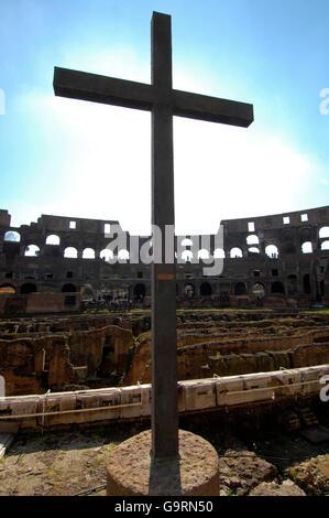 holy cross in the colosseum, Rome, Lazio, Italy, Europe / Rome - Stock Photo