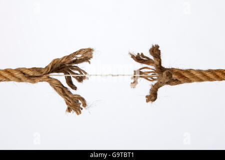 Frayed rope on a white background - Stock Photo