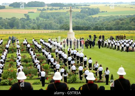 A view of the wreath laying ceremony during the Commemoration of the Centenary of the Battle of the Somme at the - Stock Photo