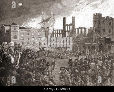 The British Houses of Parliament, London, England destroyed by fire on 16 October 1834. - Stock Photo