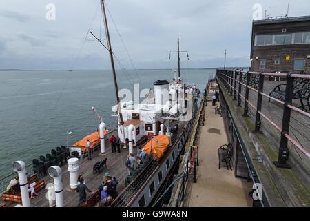 MV Balmoral Alongside the Pier at Southend-on-Sea Embarking Passengers - Stock Photo