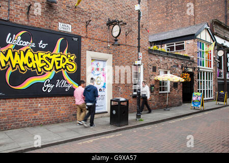 Canal Street in Manchester, the area known as the Gay Village, Greater Manchester, UK - Stock Photo
