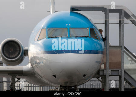 AMSTERDAM ,THE NETHERLANDS - 10 NOVEMBER ,2013  Fokker 100 airplane on Schiphol airport. This plane does not fly - Stock Photo
