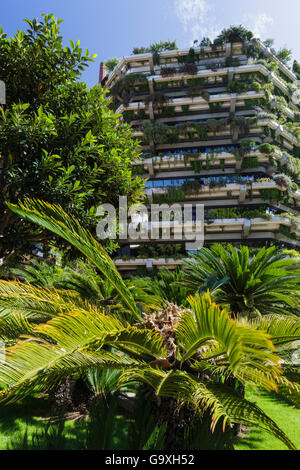 Vertical Garden On The Walls Of A Tower Block, Barcelona. Catalonia. Spain,