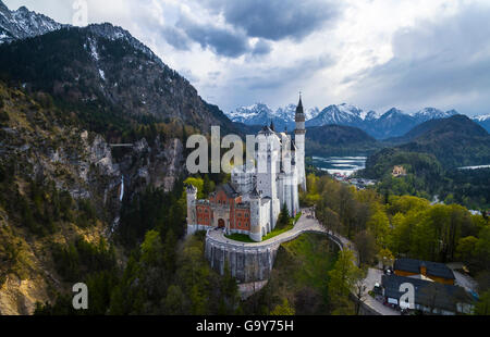 Neuschwanstein Castle in autumn, Alpsee behind, Schwangau, East Allgäu, Allgäu, Swabia, Upper Bavaria, Bavaria, - Stock Photo