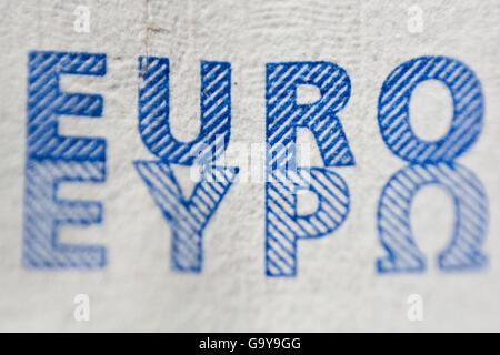 Lettering 'euro', macro detail of 20 euro banknote - Stock Photo