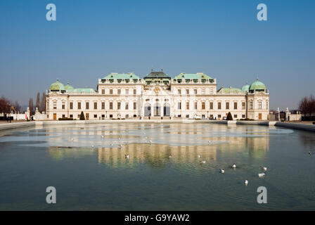Oberes or Upper Belvedere, Palace Museum, with pond at front, Schloss Belvedere castle, Wien, Vienna, Austria, Europe - Stock Photo