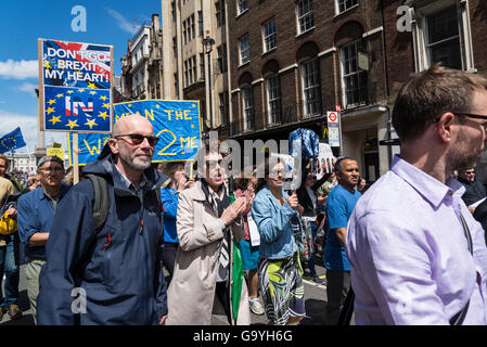 March for Europe, Anti-Brexit protest, London, UK, 02/07/2016 - Stock Photo