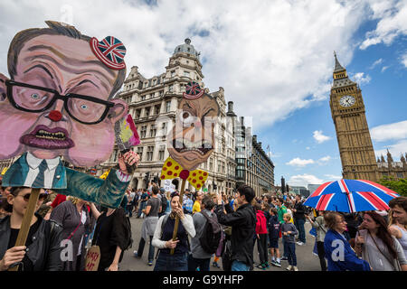 London, UK. 2nd July, 2016. 'March For Europe' protest against the Brexit EU Referendum saw tens of thousands of - Stock Photo