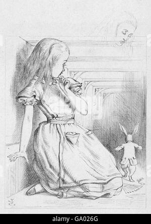 Alice in Wonderland. 'The Rabbit Scurried', an illustration by Sir John Tenniel for Lewis Carroll's 'Alice in Wonderland'. - Stock Photo