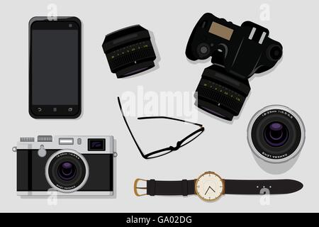 Professional photography equipment vector illustration top view  concept - Stock Photo