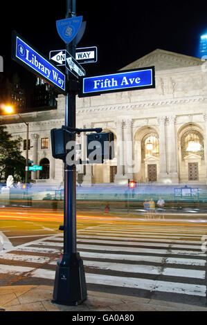 Street signs, 5th Avenue, Library Way, New York Public Library, NYPL, New York City, USA, America