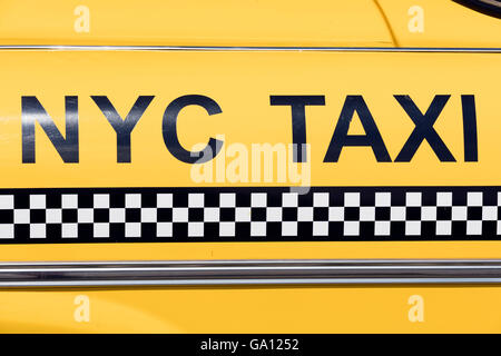 Iconic vintage yellow Checker taxi cab well known among other things from the movie 'Taxi Driver' - Stock Photo