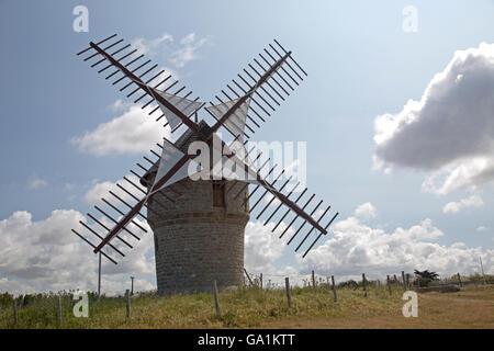 Old working windmill Moulin de la Falaise Batz-sur-Mer France - Stock Photo