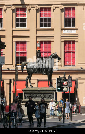 Statue of Duke of Wellington with traffic cone on head, Royal Exchange Square, Glasgow, Scotland, UK, - Stock Photo