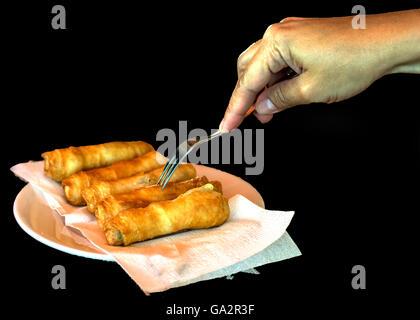 snack, smoking rolls - Stock Photo
