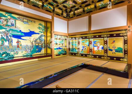 Kumamoto Castle at the Honmaru Palace Hall in Kumamoto, Japan. - Stock Photo