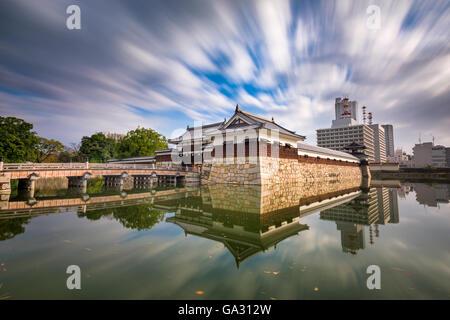 Hiroshima, Japan at the castle moat. - Stock Photo