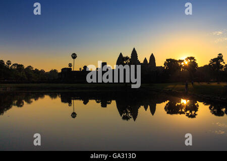 Sunrise at Angkor Wat in Siem Reap, Cambodia, which is a world heritage - Stock Photo