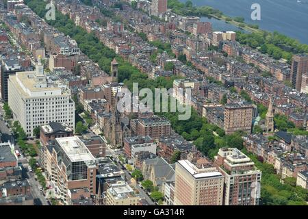 Boston's Back Bay taken from a helicopter at 1,000 feet up.  Pictured is the iconic high spine and Commonwealth - Stock Photo