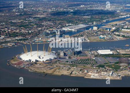 Aerial view of London City Airport and O2 Arena, London, England, UK, GB - Stock Photo