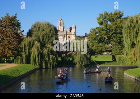 Punting on the River Cam from the Backs, near St John's College,  Cambridge University, Cambridgeshire, England, - Stock Photo