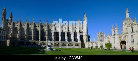 Chapel, Gatehouse and Front Court, King's College,  Cambridge University, Cambridgeshire, England, UK, GB, Europe - Stock Photo