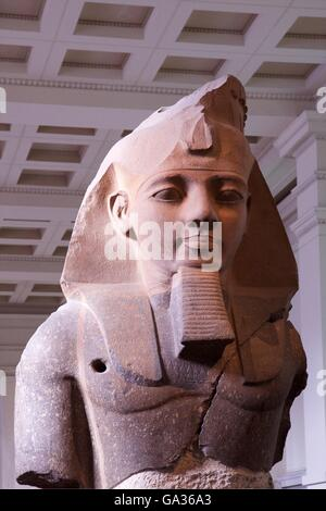 Statue of Ramesses II, 1270 BC, Thebes, British Museum, London, UK - Stock Photo