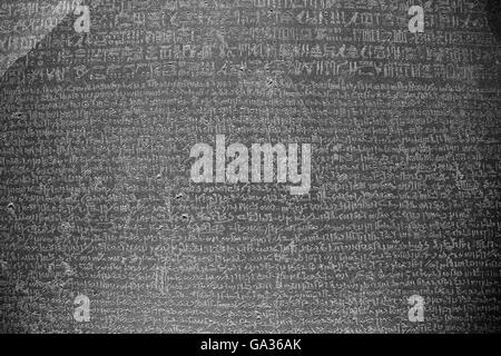 Rosetta Stone, 196 BC, British Museum, London, UK - Stock Photo