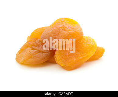 Dried Apricot Fruits Isolated on White - Stock Photo