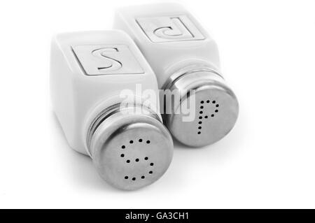 Salt And Pepper Shakers Isolated on White Background - Stock Photo
