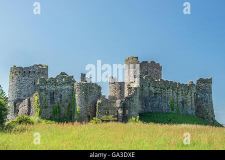Kidwelly Castle in the Carmarthenshire town of Kidwelly in South West Wales, UK. Unusual view from the 'rear' of - Stock Photo