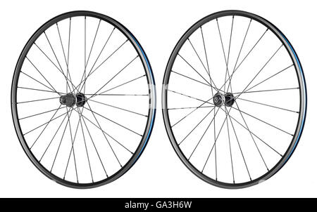 set of bicycle rims isolated on white background - Stock Photo