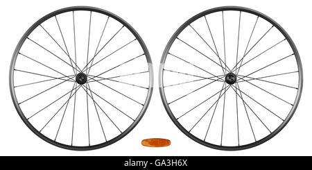 set of bicycle rims isolated on white background - Stock Photo