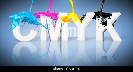 CMYK paint splash on letters on blue background - Stock Photo