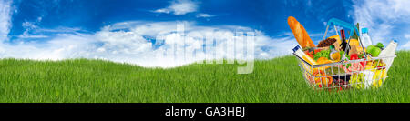 shopping basket filled with food on meadow in front of blue sky - Stock Photo