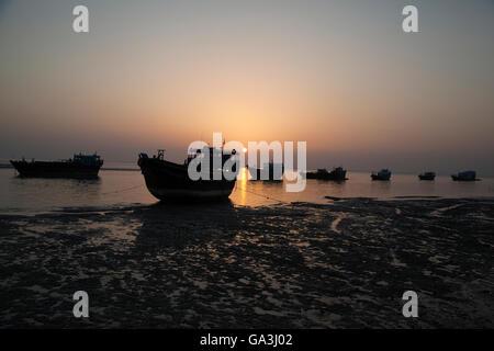 Old Fisherman boats at sunset. Strait of Hormuz - Stock Photo