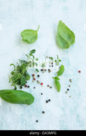 Fresh herbs with oregano, basil leaves and pepper spices - Stock Photo