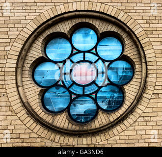 Rosette Window at the Great St. Martin Church in Cologne, Germany - Stock Photo