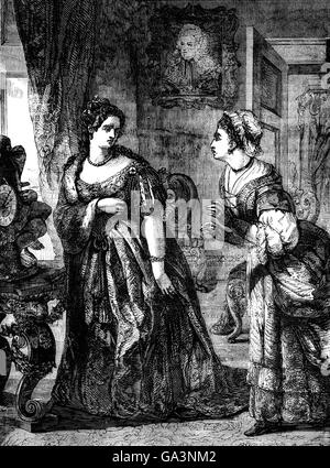 Queen Anne with Mrs Danvers, a bedchamber woman who quarrelled with the Dutchess of Marlborough.  In a fit of jealousy, - Stock Photo