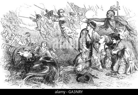 The death of Major General James Wolfe after he led 200 ships with 9,000 soldiers and 18,000 sailors on a risky - Stock Photo