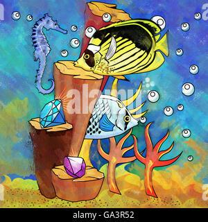 Colorful Aquarium Fishes - Stock Photo