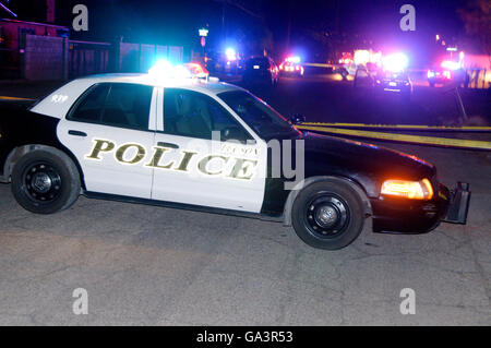 Police respond to a fatal shooting of a 30-year-old man at a party where narcotics were used in midtown Tucson, - Stock Photo